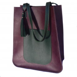 Leather Two Tone Tote Bag